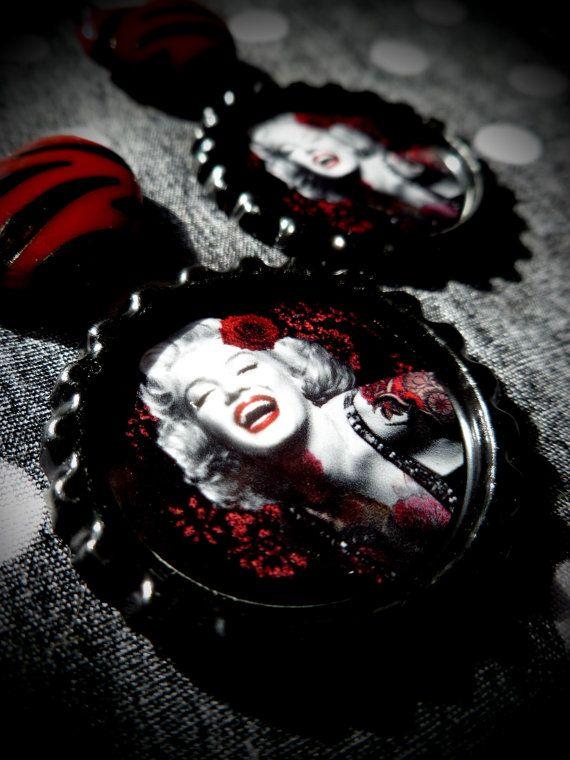 Tattooed Marilyn earrings by LttleShopOfHorrors on Etsy, $6.50