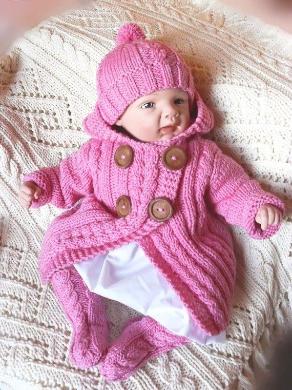 Baby Sweater Hat Socks Set Hand Knit Merino Wool