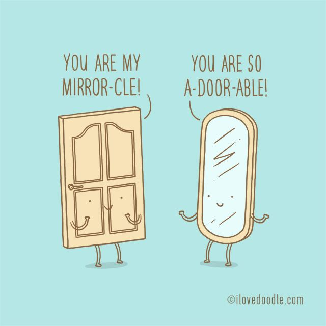 Door and mirror little conversation seriesby lim heng for Mirror jokes