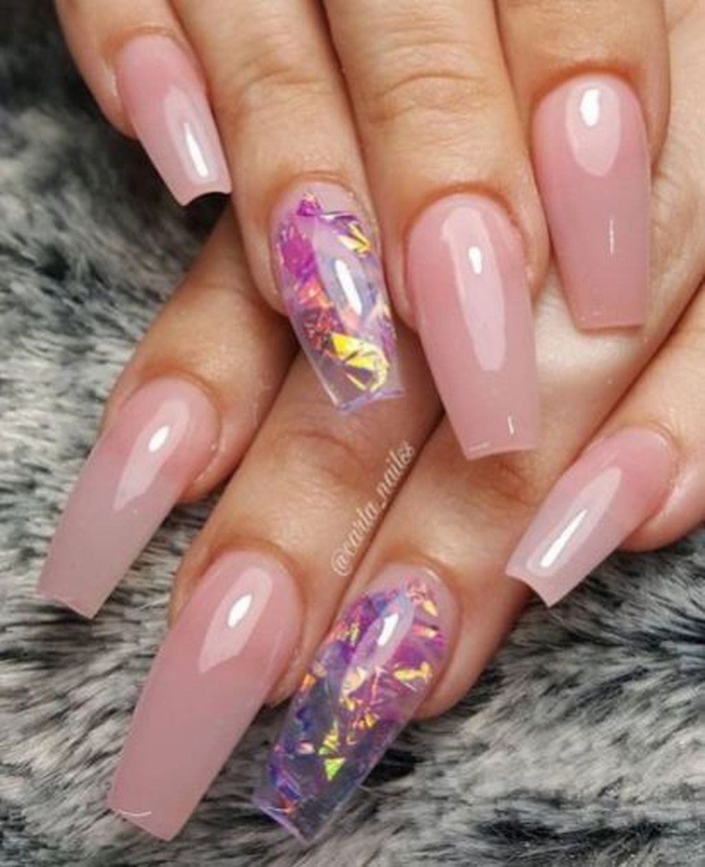 39 Stylish Acrylic Coffin Nail Arts Design For Summer Pink