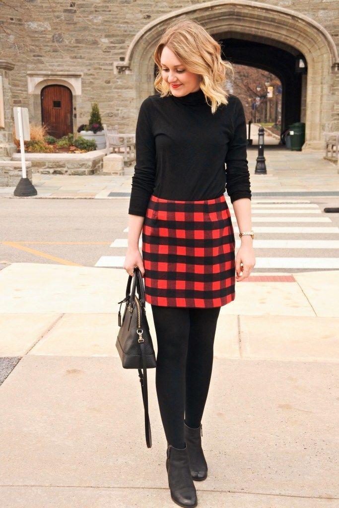 c17e622bb Buffalo Check Skirt   Fashion   Plaid outfits, Winter skirt outfit ...