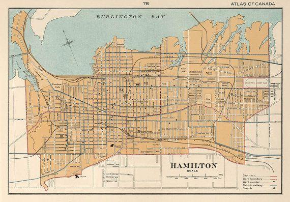 Hamilton Ontario Canada Map.Hamilton Map Ontario Giclee Print 16 X 23 By Ancientshades 30 00