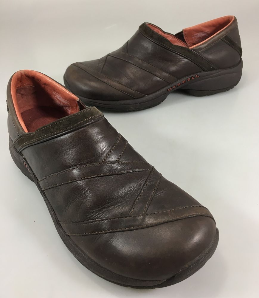 9bf86101 Merrell Womens 8.5 Primo Patch Bug Brown Leather Mocs Loafers Shoes ...