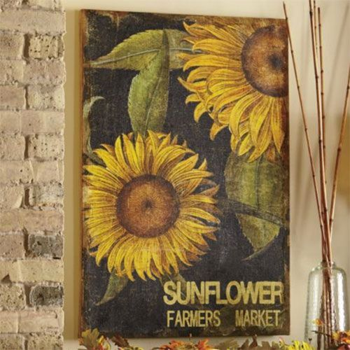 Country Cottage Decorating Ideas Sunflower Wall Art Printing On Burlap Kitchen Decor