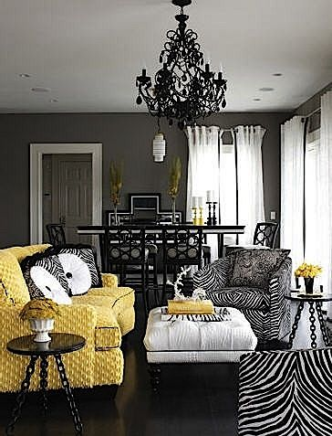 Love the black, white, and yellow (and zebra print!) combo ...