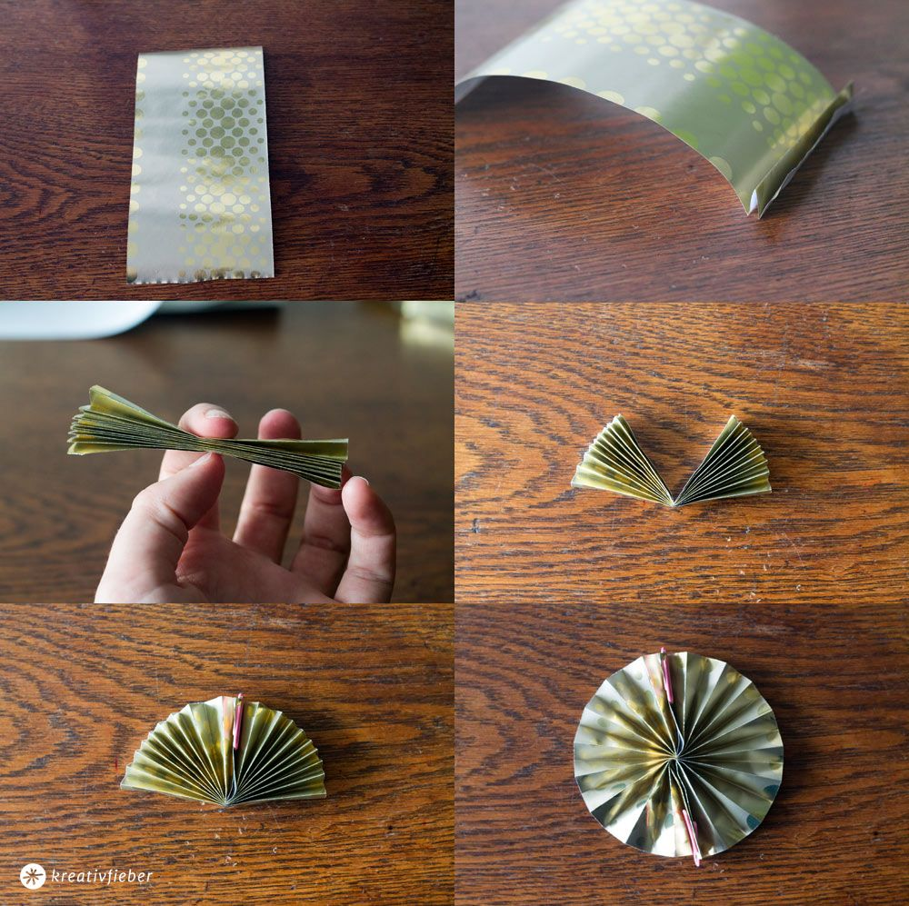 DIY Hochzeitsdeko für den Sweet Table oder ganz einfache Partydeko: Papierrosetten falten - klappt auch mit Geschenkpapier
