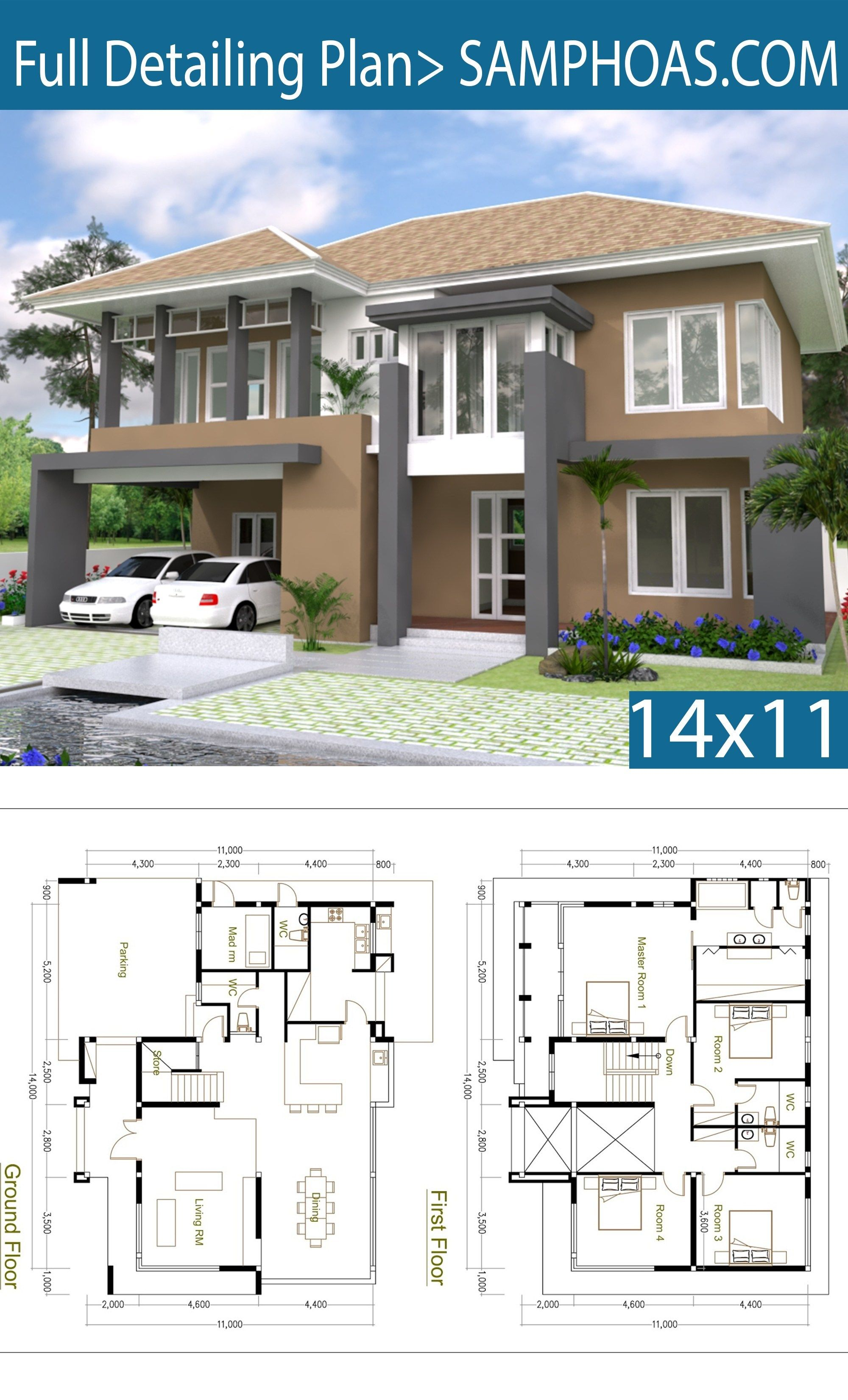 4 Bedrooms Home Design Plan Size 14x11m Samphoas Plan Duplex House Design Free House Design Model House Plan