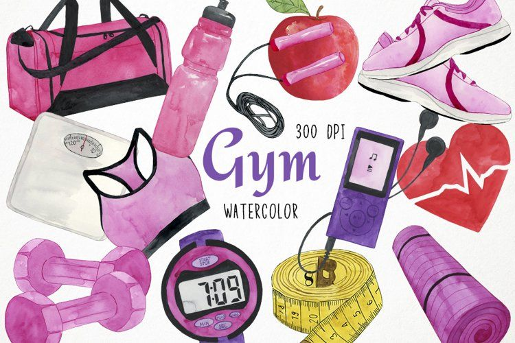 Watercolor Gym Clipart Training Clipart Fitness Clipart