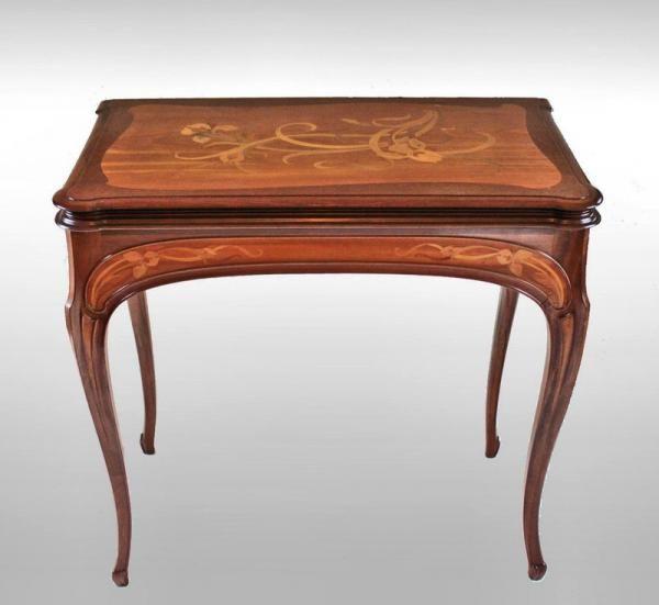 art nouveau 1900 belle table jeux gauthier poinsignon. Black Bedroom Furniture Sets. Home Design Ideas