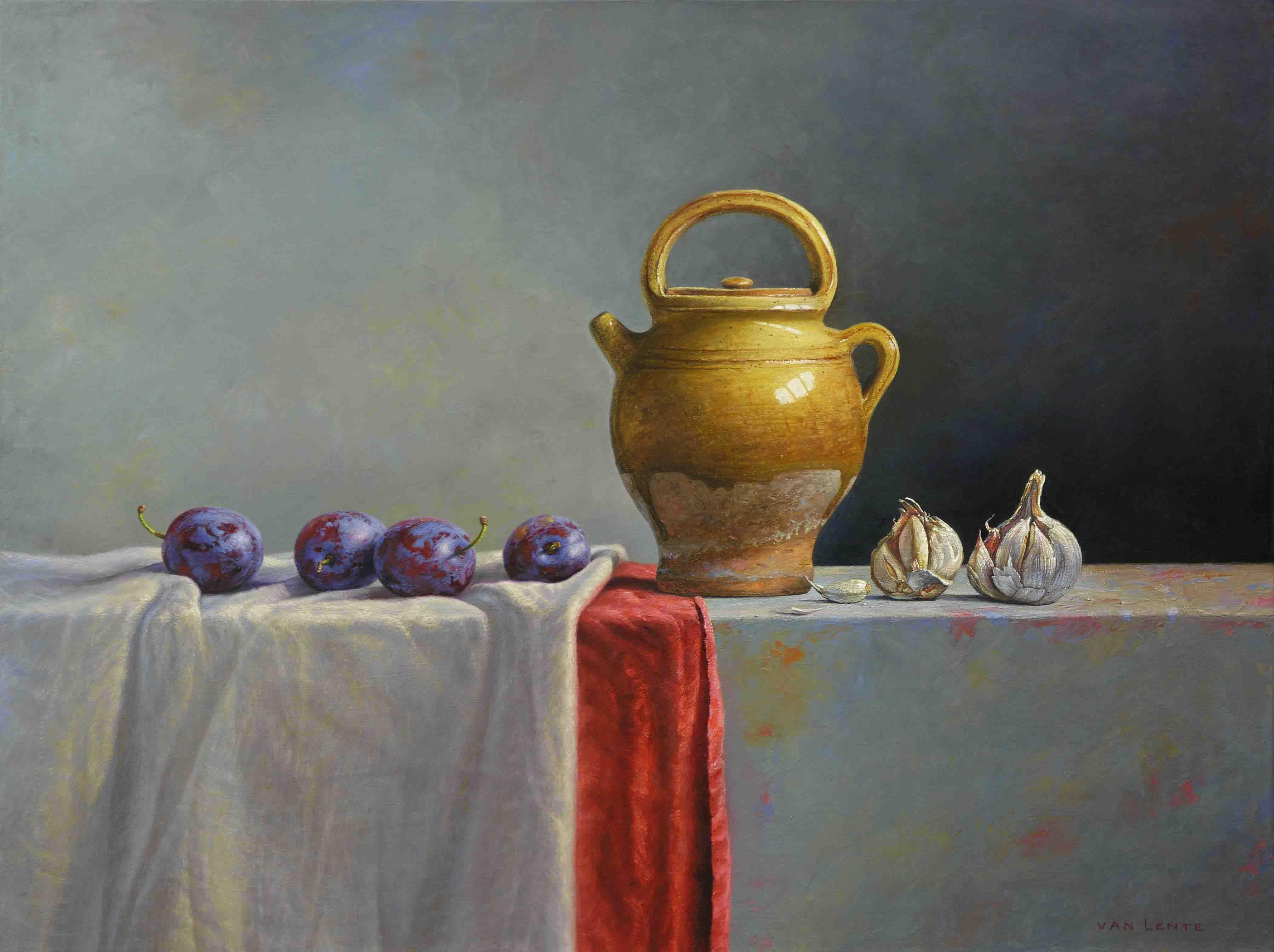 Schilderij - 'Oliekruik en knoflook' (2011) -  olieverf op linnen - 60 x 80 cm