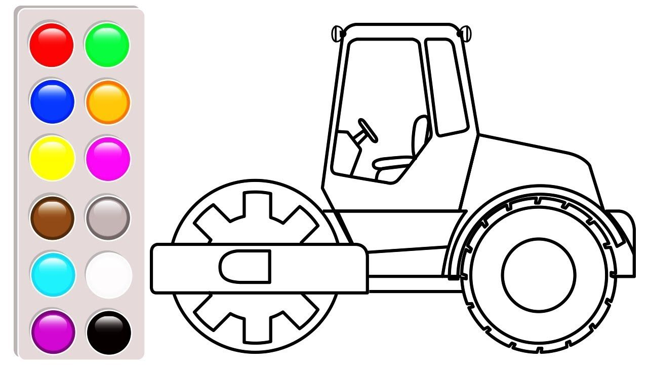 Construction truck and car coloring pages, Road roller coloring book ...