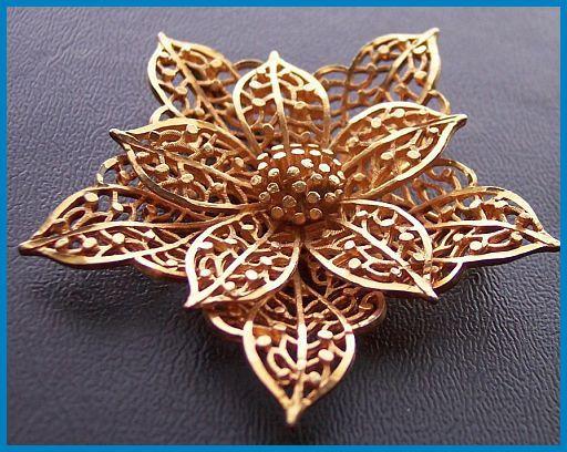 "SIGNED COROCRAFT Brooch or Pin w Gold Filigree Tiered Metal Vintage Flower Motif 2.5"" EX. $24.50, via Etsy."