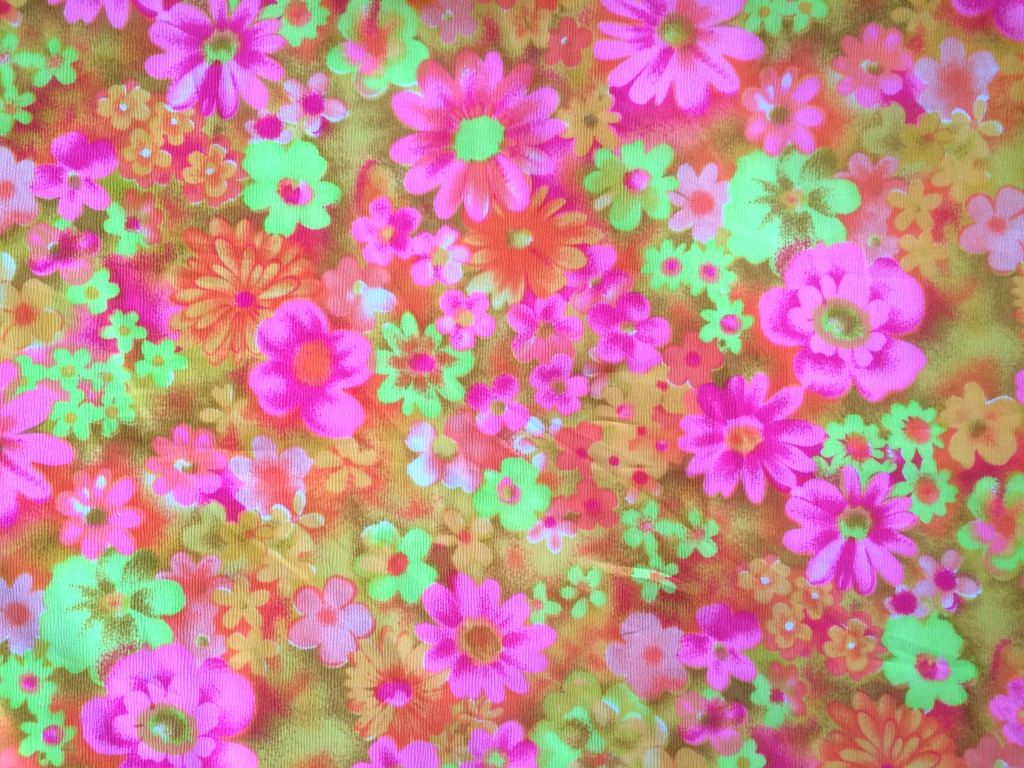5e1b0286e0c1 Vintage 60s Hot Pink Daisy Flower Fabric Tangerine Orange Neon Yellow  Daisies Mid Century Mod Floral Crepe By the Yard Cute Bright Fun by  CuteBrightFun on ...