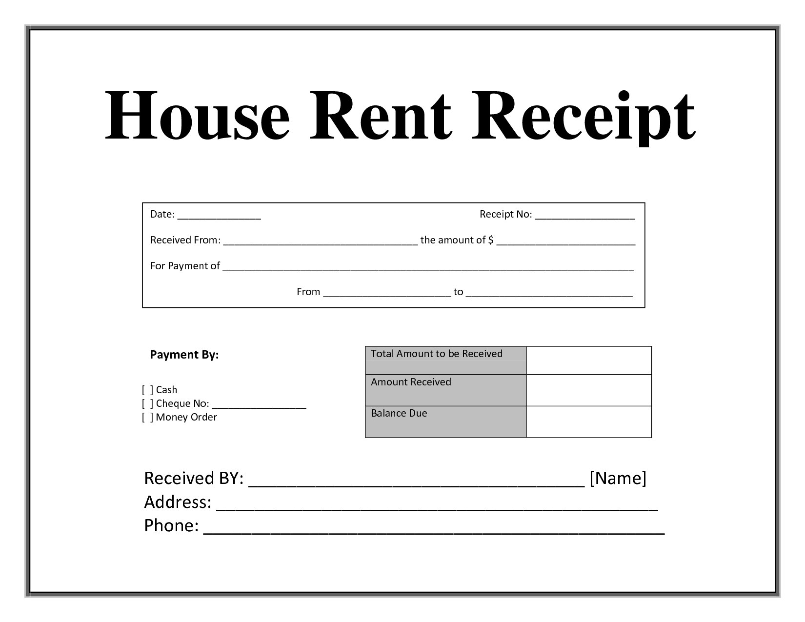 Free Template For Receipt Of Payment Payment Received Form Attendance Sheet For Employees Word Border .