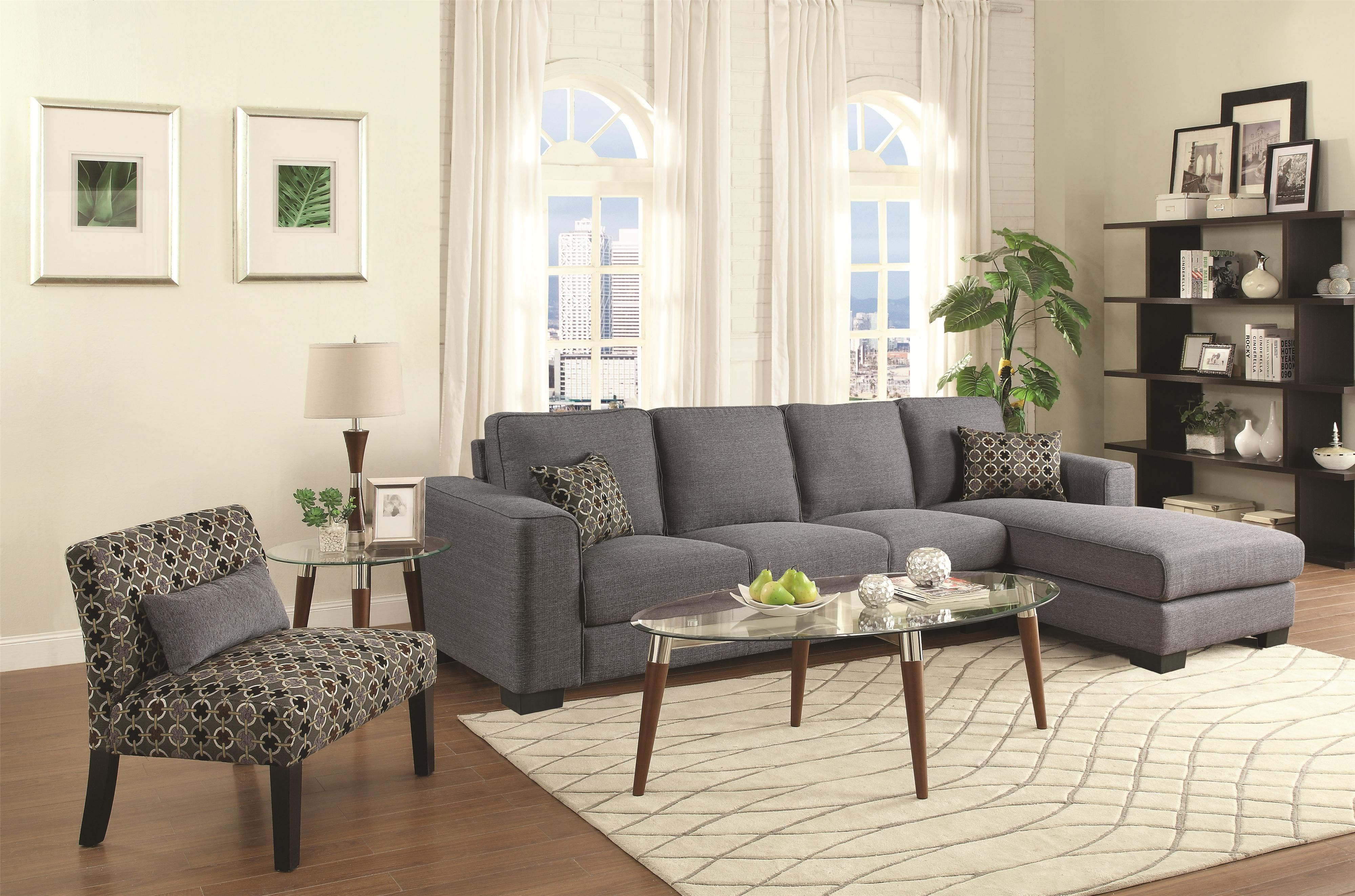 Coaster Norland Contemporary Sectional Sofa With Chaise