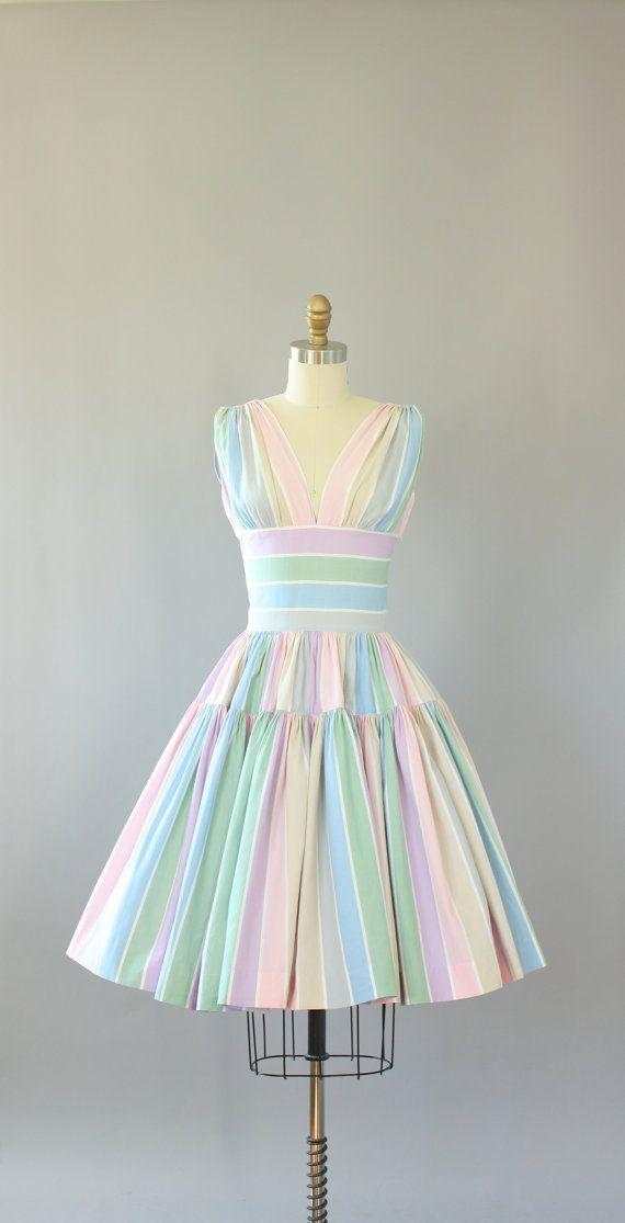 ca85af5212 Vintage 50s Dress  1950s Cotton Dress  Lord   Taylor Pastel Striped ...