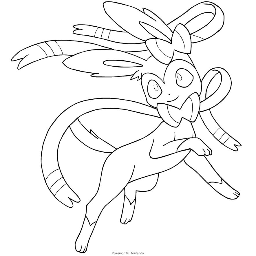 Kolorowanka Sylveon Z Szostej Generacji Pokmon Unicorn Coloring Pages Pokemon Coloring Pages Pokemon Coloring