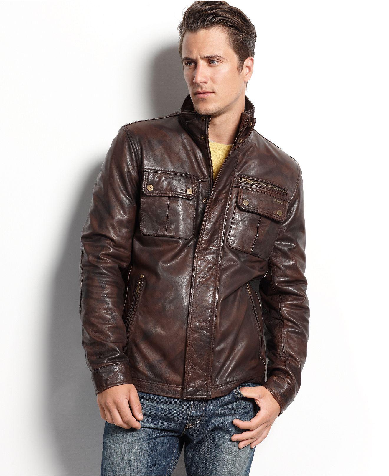 Guess Coat, MediumWeight Leather Jacket Mens Coats