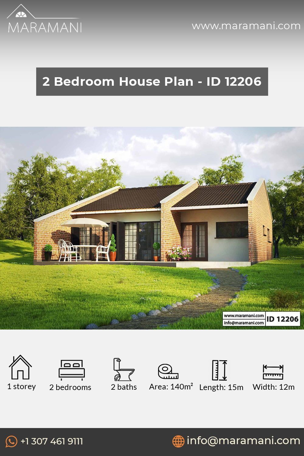 Small Brick House Design Id 12206 House Plans By Maramani Brick House Designs 1 Bedroom House Plans Bedroom House Plans
