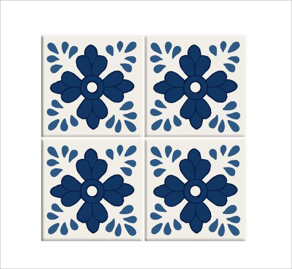 tile/wall/stair decal :jaipur blue pottery hand painted style tile