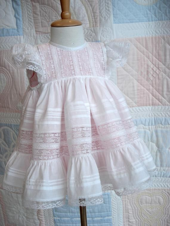 FRENCH VICTORIAN Baby Doll GOWN Dress Summer White Pink Ribbon Eyelit Lace