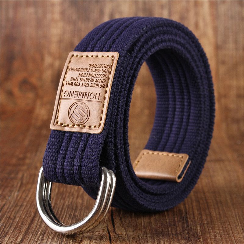 New Pin Double Buckle Belt Men Canvas Men Belts Ring Leather Army Style Military