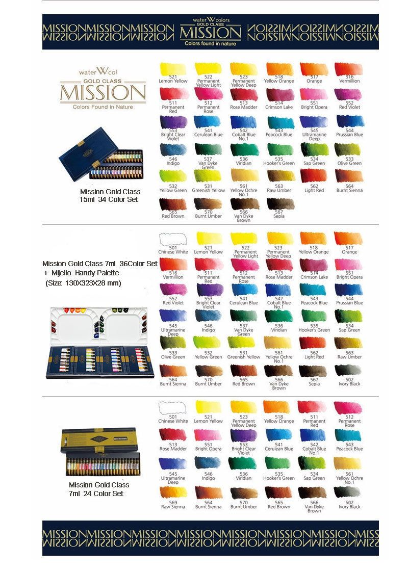 Mission Gold Watercolor : mission, watercolor, Watercolor, Paint, 28113:, Mijello, Mission, Class, Colors, 34Color, ONLY:, .45, Class,, Color