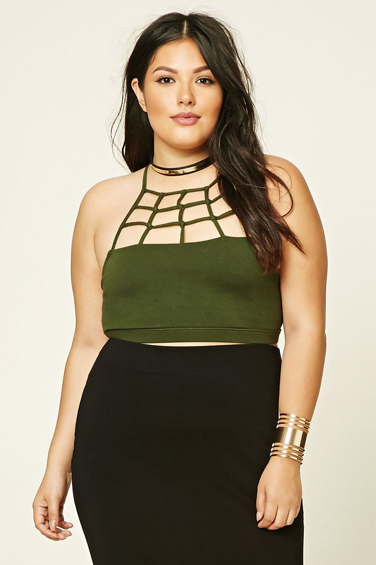 d83319fd80 Forever 21+ - A stretch-knit bralette featuring a caged front design ...