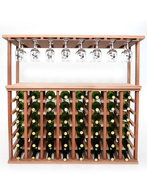 48 Bottle Wine And Stemware Rack Oak Table Top Wine Rack Wine Rack Storage Modern Wine Rack