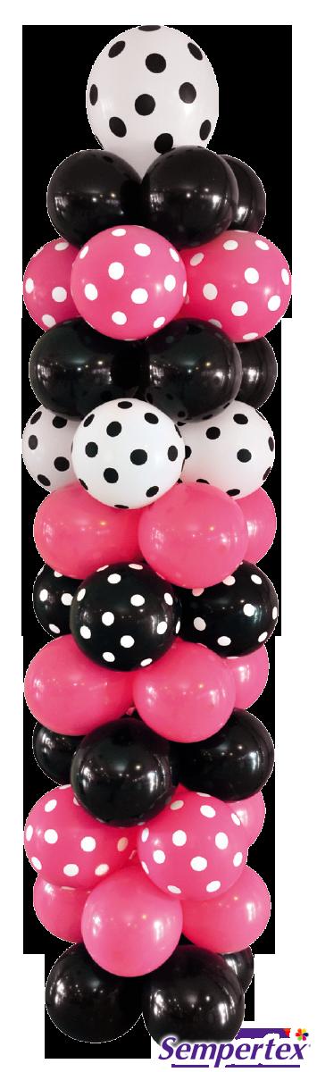 Combina lisos e impresos en las columnas de globos como en este caso con globos Infinity Polka Dots Blanco, Fucsia, Negro y lisos del mismo en los mismos tonos. Esto hará que se destaque más.