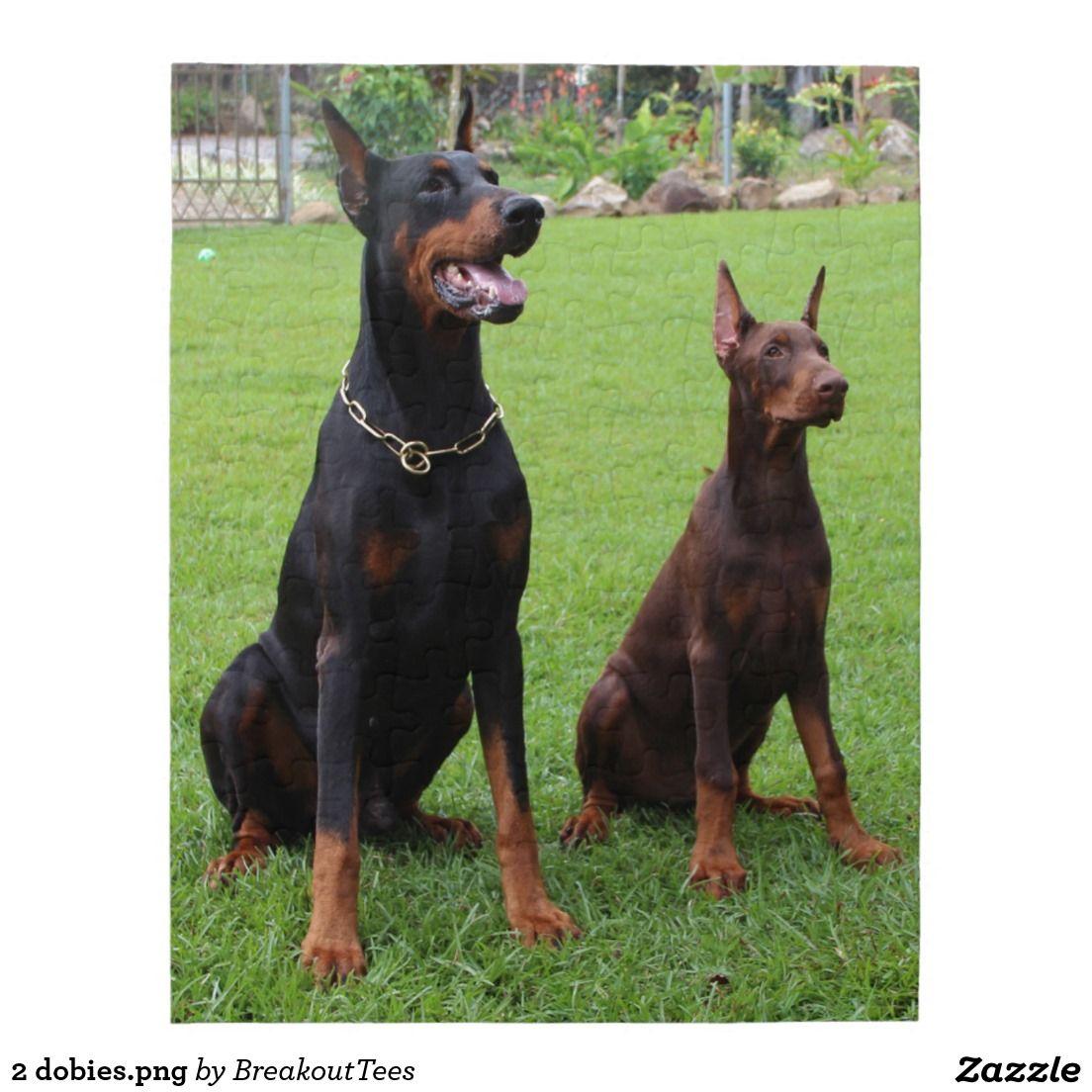 2 Dobies Png Jigsaw Puzzle Zazzle Com German Dog Breeds