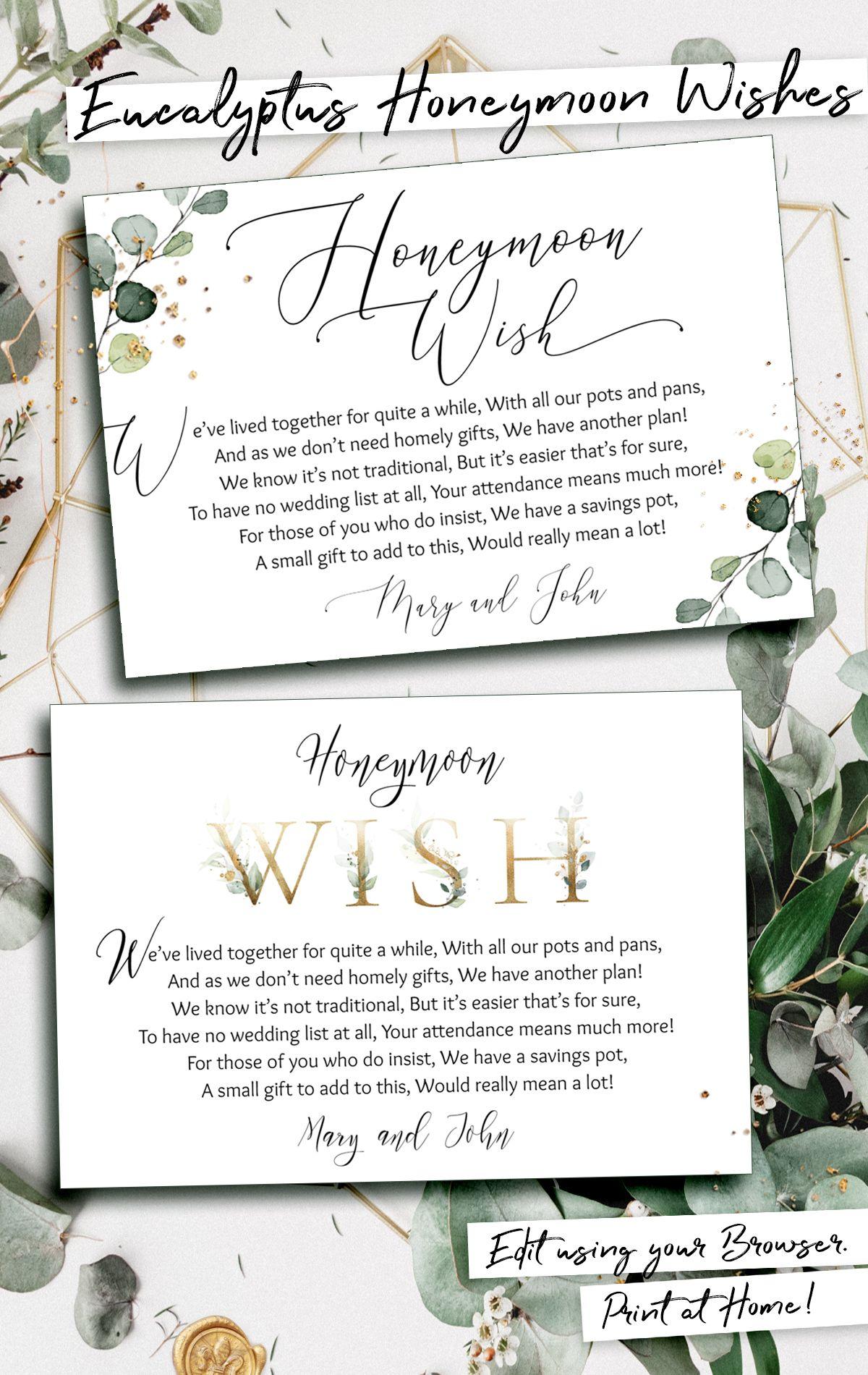 Honeymoon Fund Template Wishing Well Card Instant Download Editable Text Printable Honeymoon Wish Card In Lieu Of Gifts Handmade Diy Diy Wedding Invitations Templates Wedding Invitation Templates Wedding Invitations Diy
