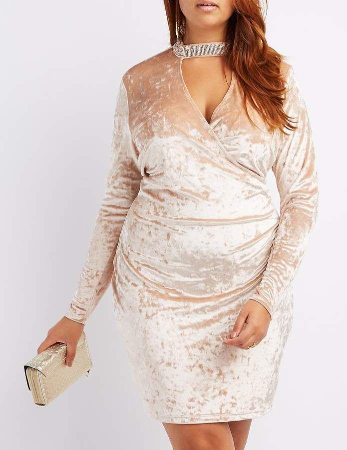 Charlotte Russe Plus Size Velvet Choker Neck Bodycon Dress ...