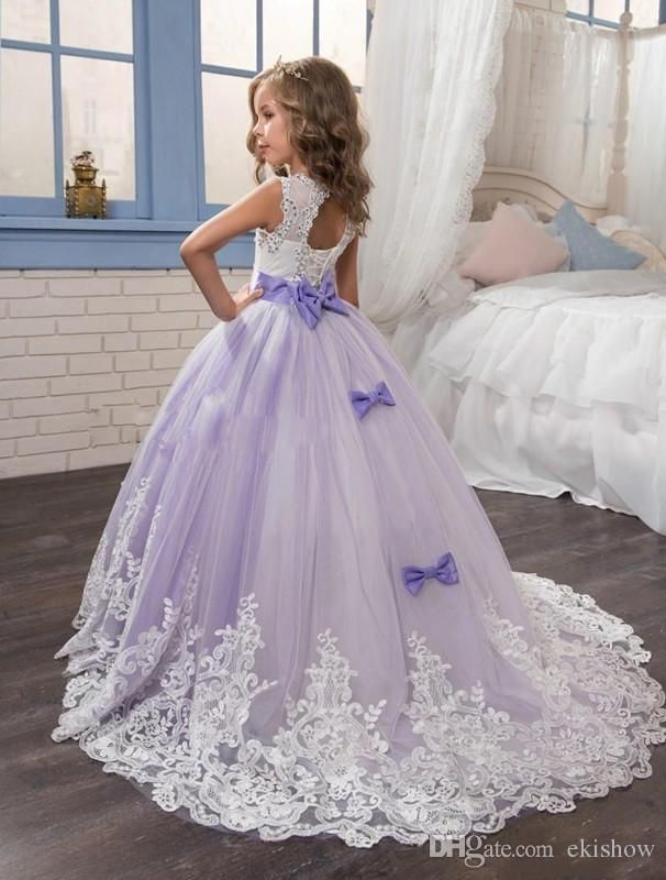 e86e164d350b 2017 Lace Appliqued Flower Girls Dresses Beautiful Purple and White  Princess Dress Beaded Bows Pageant Gowns for Kids Wedding Party