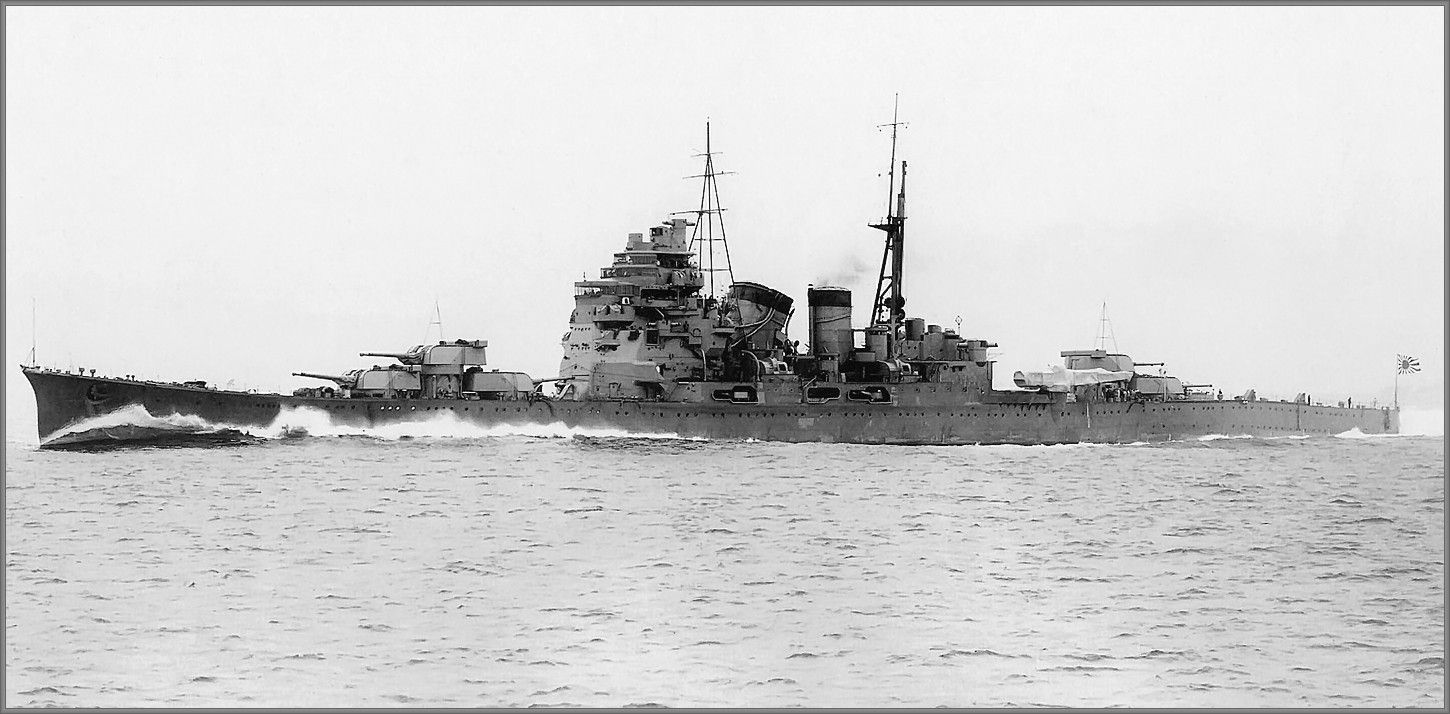 Japanese Takao class 8 in heavy cruiser Atago during acceptance trials, February 12th 1932.  Together with Takao she inflicted 17 x 8 in hits on battleship USS South Dakota in November 1942 off Guadalcanal.  Submarine USS Darter sank her in October 1944.