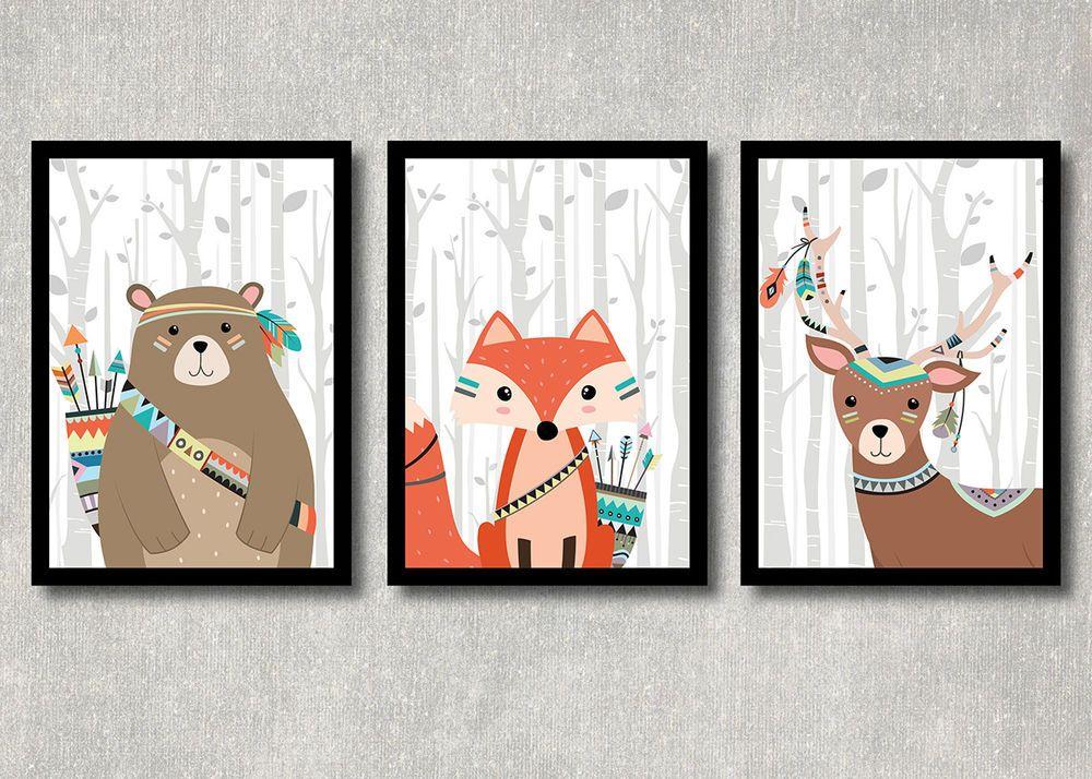 Details zu Bild Set Wald Tiere Kunstdruck A4 Bär Fuchs Reh Tribal ...
