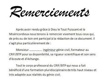 Exemple Remerciement Pfe Memoire Ou Rapport De Stage 2 Lettre De Remerciement Modele De Remerciement Remerciement Memoire