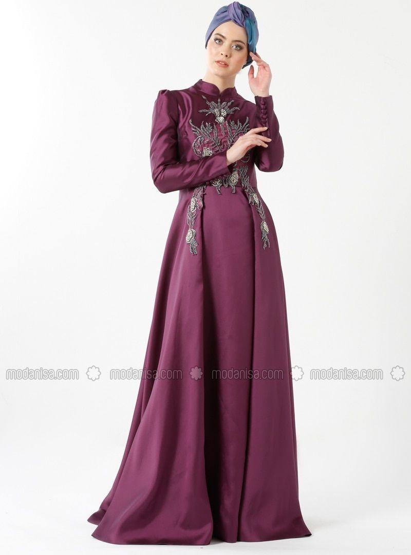 7389b1b5a6 Purple - Fully Lined - Crew neck - Muslim Evening Dress - Minel Aşk ...
