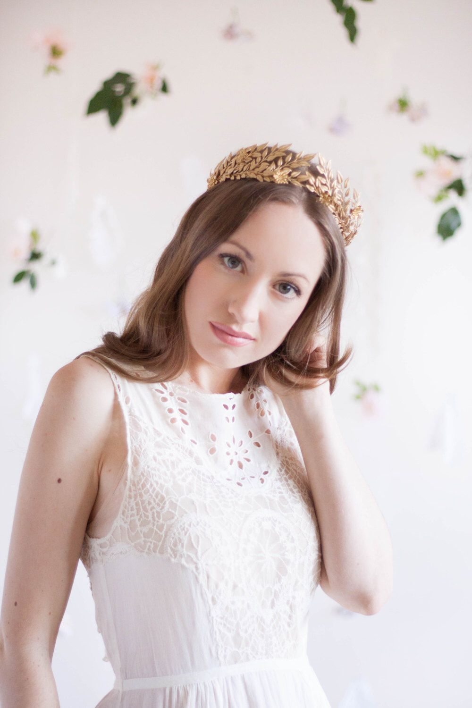 Edwardian leaf circlet, vintage tiara, leaf tiara, bridal headpiece, Greek goddess, German tiara, flower crown, gold tiara, silver by AnnaMarguerite on Etsy https://www.etsy.com/listing/203110781/edwardian-leaf-circlet-vintage-tiara