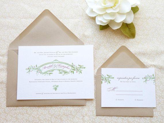 Sangiovese Italian Vineyard Wedding Invitations By Merrymint 20 00 Themes