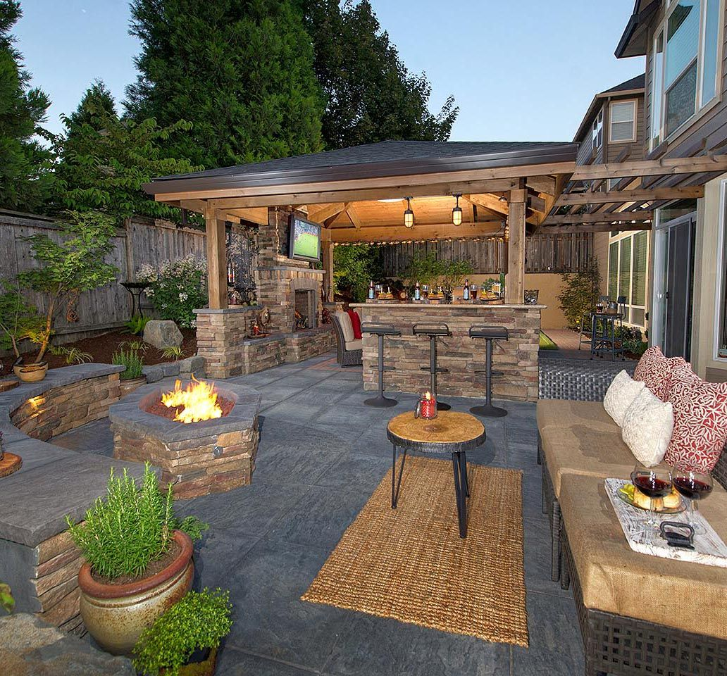 Outdoor Patio Rooms firepit, bar island, fireplace, living room, putting greehttp