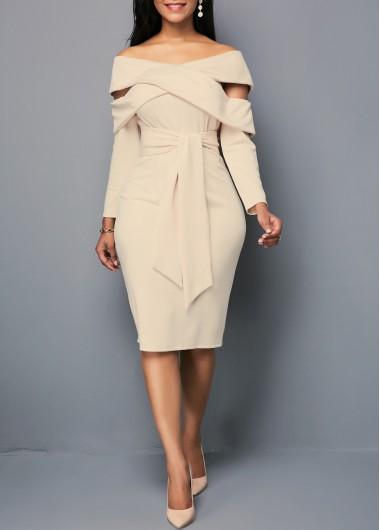 c647fb3b30d7 Zipper Back Light Khaki Belted Sheath Dress   modlily.com - USD $26.54