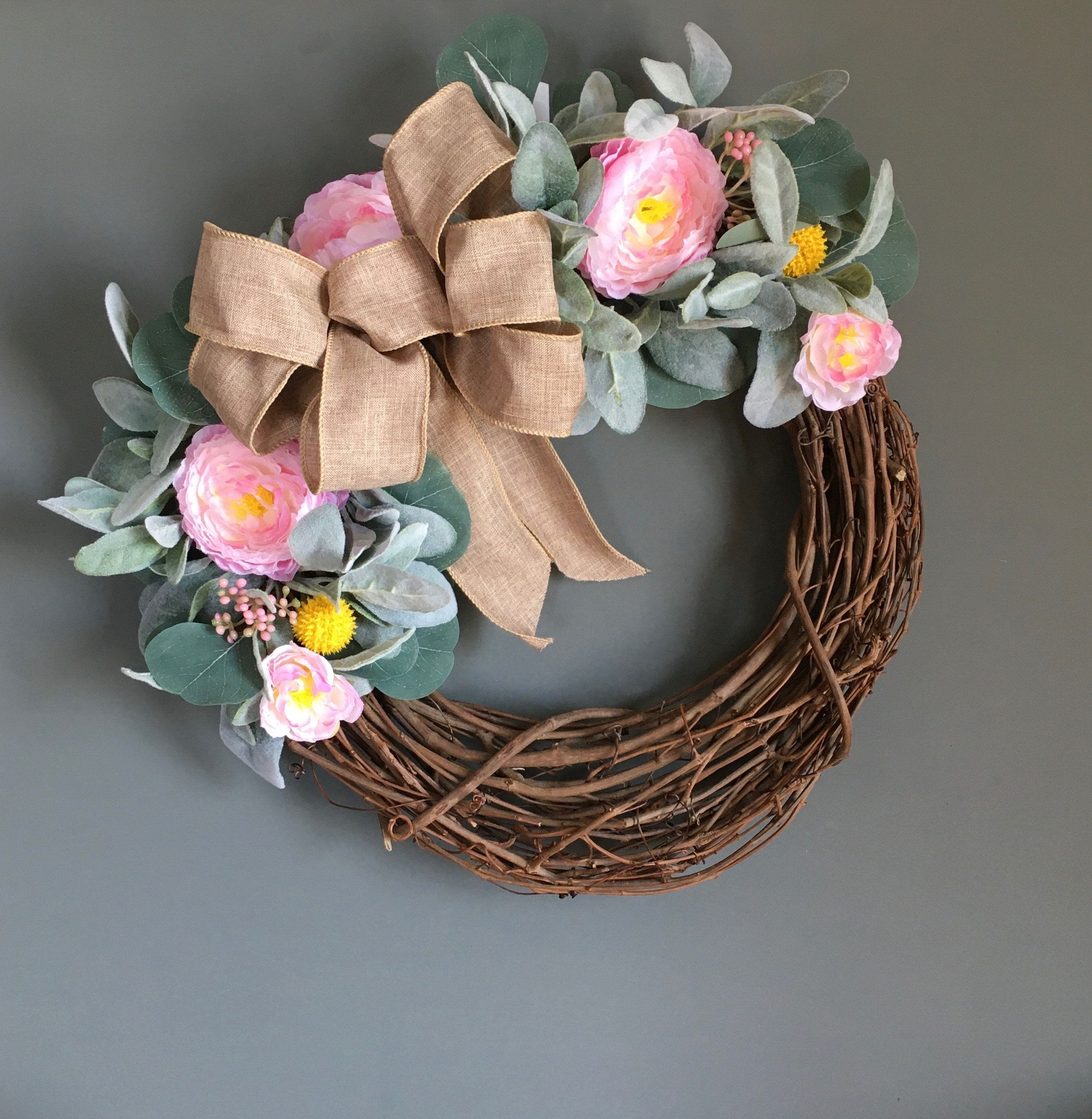Photo of Spring lamb earrings, spring front door wreath, ranunculus wreath, grapevine wreath for spring, spring door wreath, housewarming gift