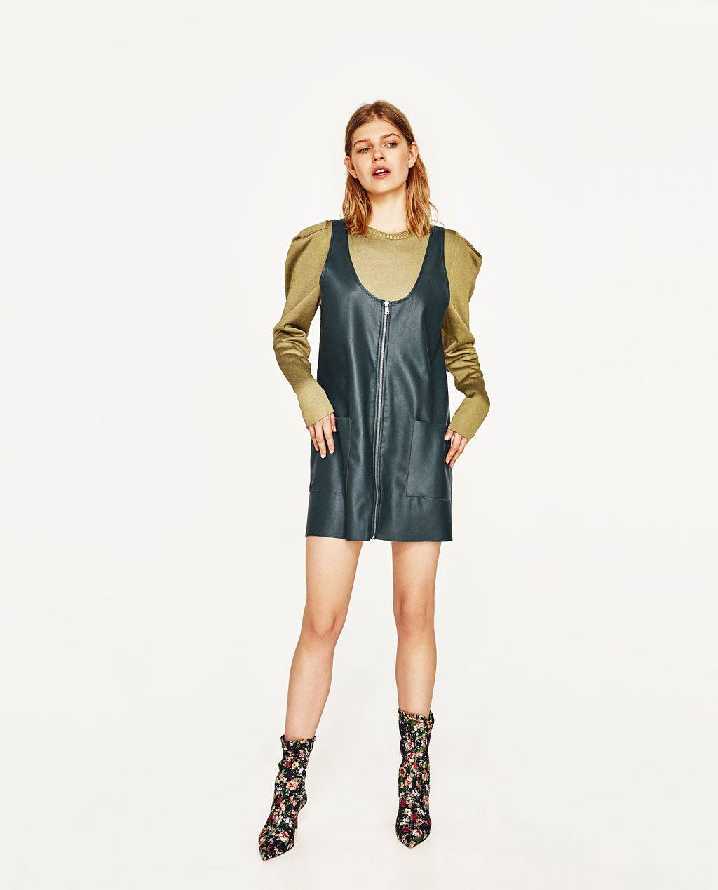 6574f0f7c2b Image 1 of FAUX LEATHER PINAFORE DRESS WITH ZIP from Zara