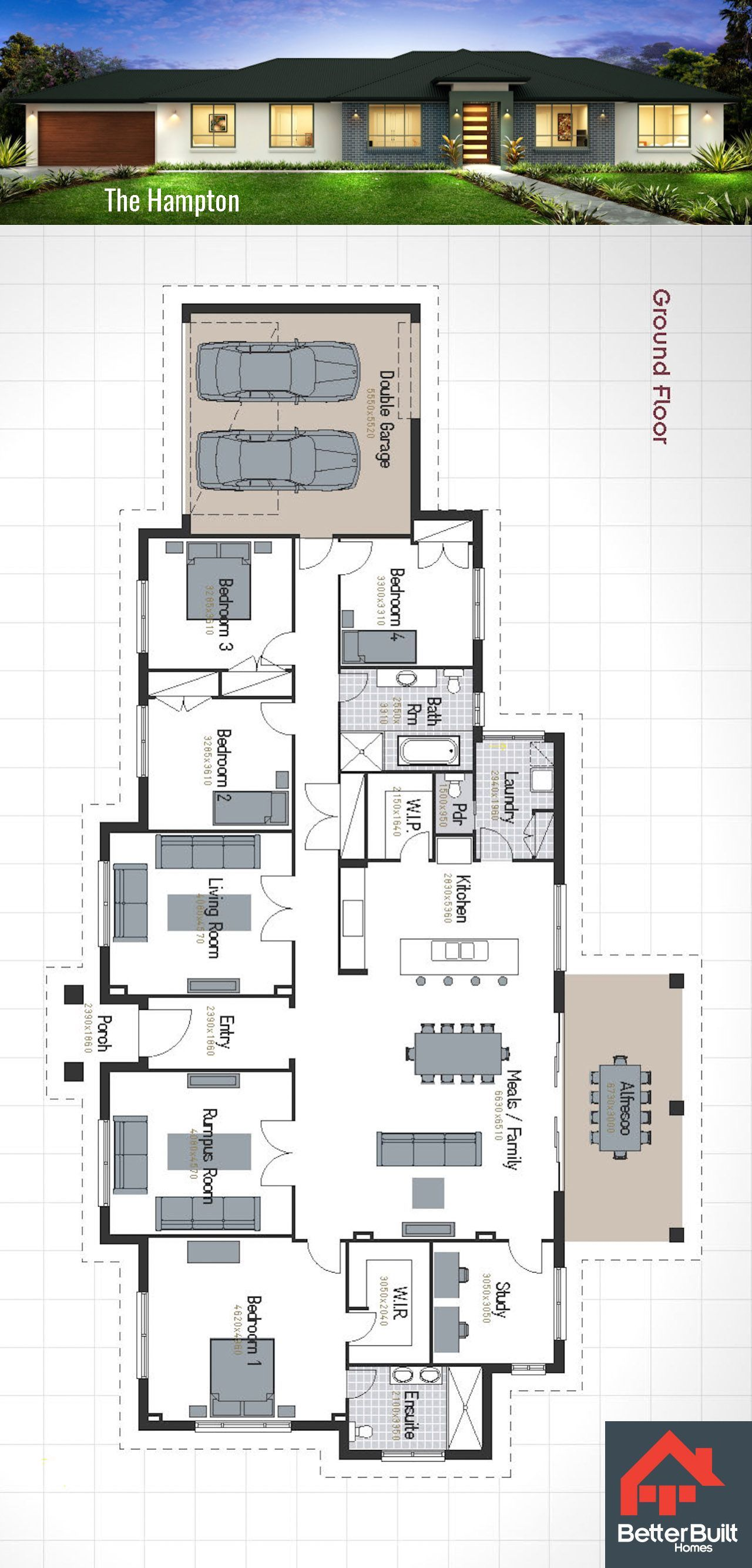 Single Storey House Design The Hampton Perfect For Larger Blocks Or Corner Allotments The Hampto My House Plans House Plan Gallery Home Design Floor Plans