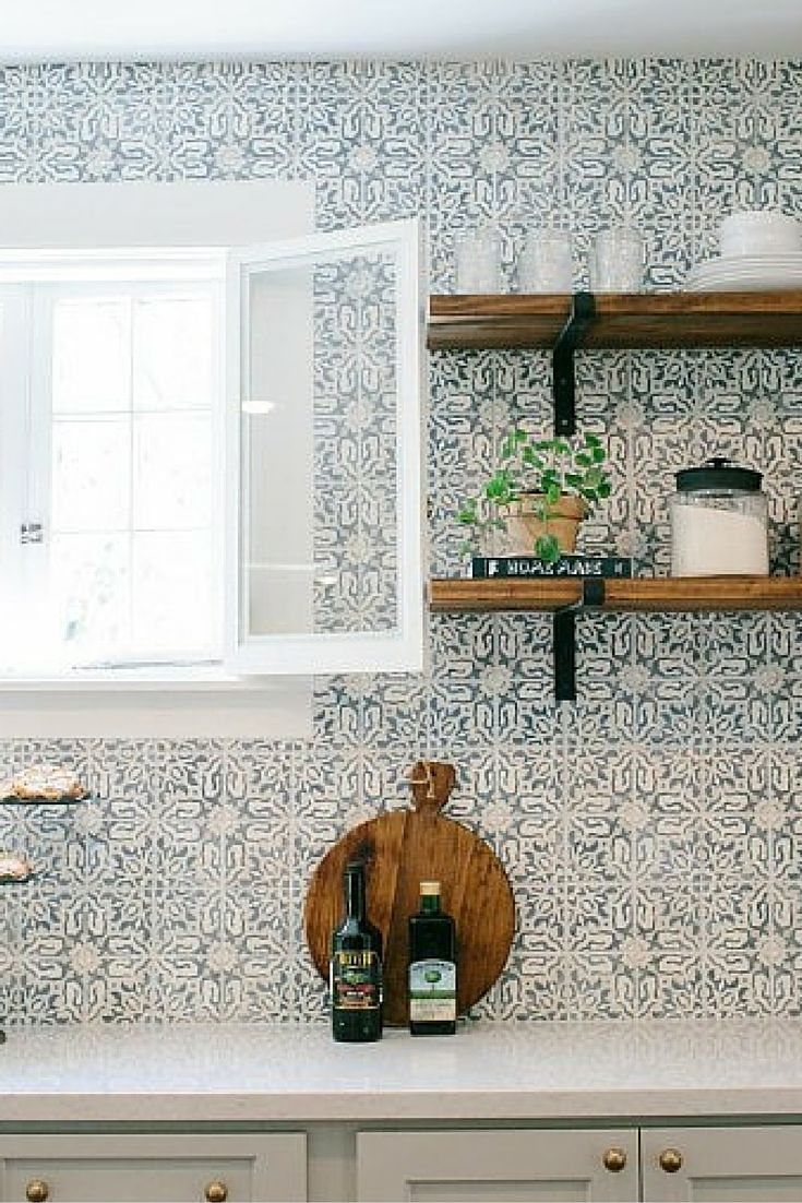 Gorgeous Patterned Tile Backsplash With Bracketed Wood Open Shelvearble Kitchen Counter Tops