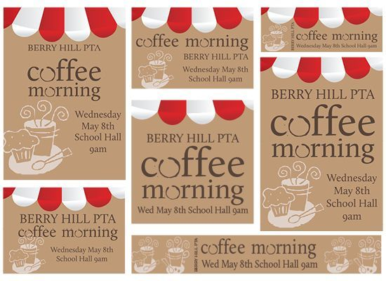 PTA Coffee Morning Template School Volunteering Pinterest - free fundraising flyer templates