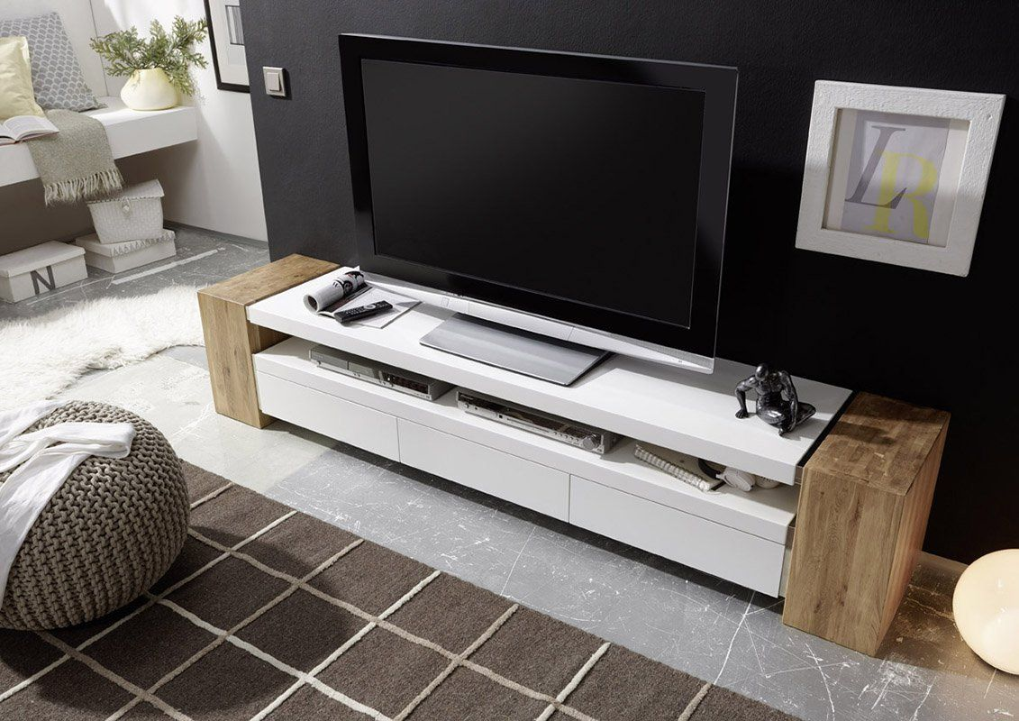 Modern Living Room Decor With Jule Tv Stand Large And Sturdy Tv Console From Solid Oak With White Ma Living Room Decor Modern Wooden Tv Stands Modern Tv Units