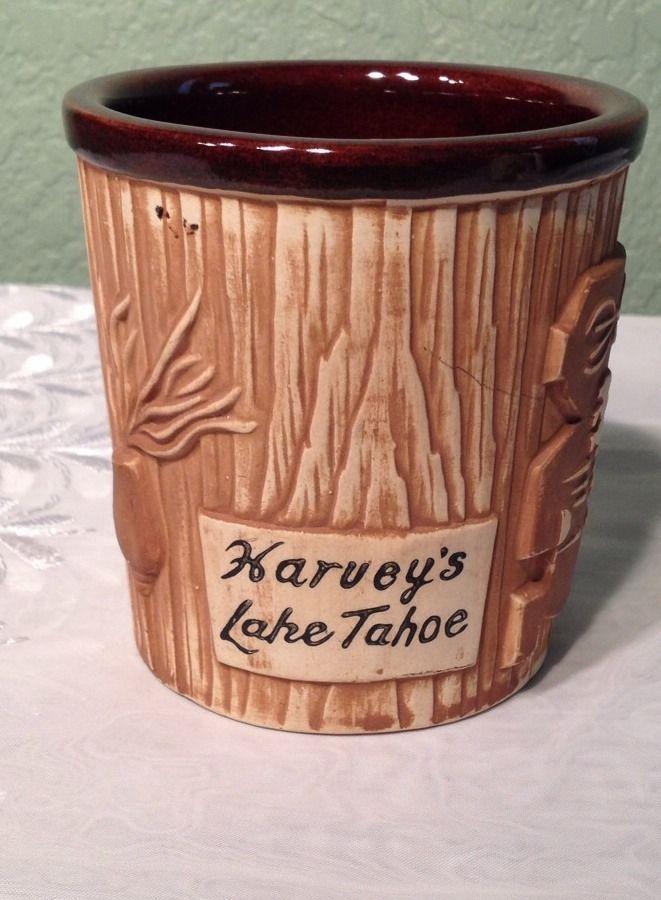 Vintage Harveys Lake Tahoe Ceramic Sneaky Tiki Mug Cup 16 oz Tan & Brown