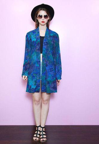 Vintage 70's Blue Printed Silk Oversized Tunic Kimono   Peekaboo Vintage Clothing